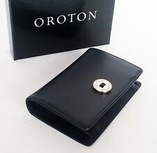 New OROTON Wallet Business Card Holder Black Textured Saffiano Leather Box