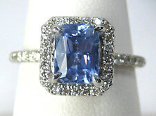 Natural Blue Sapphire Ring 14K white gold Halo Style 1.99ct. CERT. App. $3,896