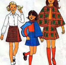 "Vintage 70s GIRLS CAPE & SKIRT Sewing Pattern FF UNCUT Chest 30"" Size 12 Retro"