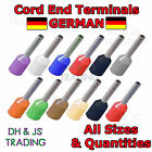Insulated Cord End Terminal ALL SIZES German Ferrule Terminals Bootlace