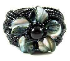 "2"" Black Flower Mother of Pearl Beads Cuff Bracelet 6""-8"" Adjustable ; FA069"