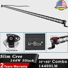 1 x Slim 50inch 144W CREE LED Spot Flood Combo Lamp Offroad Work Light Bar