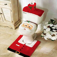 Christmas Xmas Decoration Santa Toilet Seat Cover Rug Bathroom Mat 3 PCS Set