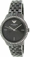 BRAND NEW EMPORIO ARMANI AR1478 CERAMICA BLACK STAINLESS STEEL WOMEN'S WATCH