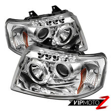New Left+Right Chrome Pair Halo LED Projector Headlight 2003-06 Ford EXPEDITION
