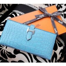 Hermes Bearn Women Wallet Purse case Alligator Blue Saintcyr X marking Auth New
