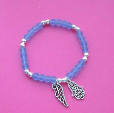 PALE BLUE FROSTED BEADS ANGEL WING HAMSA HAND STACKING BRACELET FREE GIFT BOX