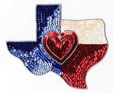 """7.5""""  Texas state love heart bead sequin applique sewing patch crafts"""