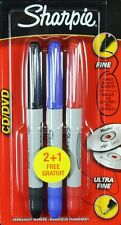 3 x Sharpie CD / DVD Permanent Marker Pens Fine & Ultra Fine Black, Blue, Red