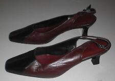 SANDLER WOMEN'S BURGUNDY & BLACK LEATHER SHOES SIZE 8.5 B MADE IN AUSTARLIA