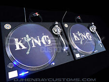 2 custom wrinkle black Technics SL 1200 mk2's blue leds
