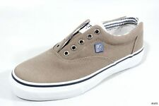 new SPERRY Top-Sider mens Striper LL khaki canvas slip-on boat shoes 7