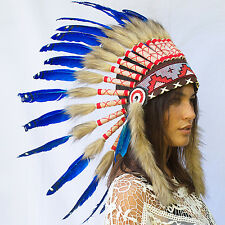 FAST! Feather Headdress -Native American Indian style War Bonnet- Dark Blue Duck