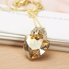 Designer Swarovski Crystal Element Champagne Gold Plated Chain Necklace Pendant