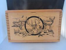 """AMERICAN WILDLIFE BY EVANS, 16"""" DOVETAILED WOODEN AMMO BOX"""