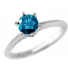 0.99Ct SI2 BLUE DIAMOND SOLITAIRE ENGAGEMENT RING 14K WHITE GOLD WITH CERTIFIED