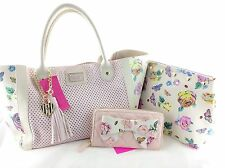 BETSEY Johnson 3 Pc Set: Big Bow Wallet, Perfy Heart Tote Shopper, Floral Pouch