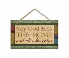 """MAY GOD BLESS THIS HOME AND ALL WHO ENTER Wood Hanging Sign 5.75"""" x 9.5"""""""