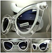 EXAGGERATED VINTAGE RETRO 60s CAT EYE Style SUNGLASSES White & Transparent Frame