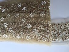 ATTRACTIVE INDIAN WIDE PEARL &CRYSTAL FLOWERS ON NET TRIM/LACE - Sold by METER