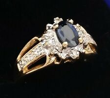 14k gold ring, 100% natural, genuine diamonds and sapphire 0,46c, engagement