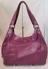 COACH MADISON MAGGIE LEATHER SHOULDER SATCHEL BAG HOBO TOTE PURSE PLUM 14336