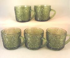 SORENO Avocado Green SNACK CUPS (Set of 5) ANCHOR HOCKING Punch Coffee Glass