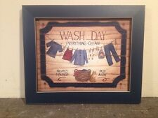 Framed Wash Day Picture Country Primitive Home Decor