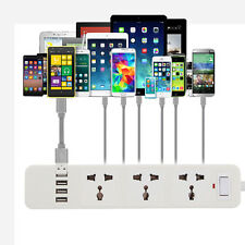 PC Lightningproof 4-Port USB 3 Outlet Power Strip Travel US Plug Surge Protector