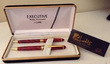 Vintage Lodis Executive Writing Instrument Pen Pencil Set with Box  & Papers Red