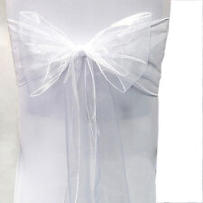 10/50/100PCS Organza Chairs Cover Sash Bow Wedding Party Reception Banquet Decor