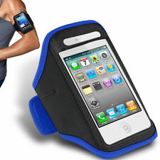 Blue iPhone 4 4S Sports Strong ArmBand Padded Soft Cover With Earphone Pocket