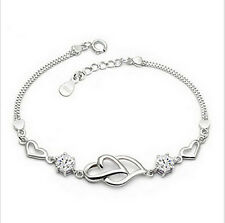 Fashion Womens 925 Sterling Silver Plated Double Heart Chain Bracelet Bangle
