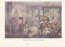 """1974 Vintage Currier & Ives HORSE RACING """"TROTTING CRACKS a/t FORGE"""" COLOR Litho"""