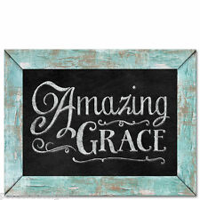 Framed Wooden Chalkboard Sign Wall Plaque Amazing Grace
