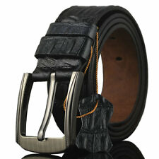 3.5 CM Men Leather  Pin Buckle Belt Waist Strap For Jeans Casual Dress Black