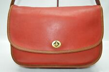 Coach Vintage USA Made Two Tone Red Saddle Tan Trim City Flap Shoulder Bag 9790