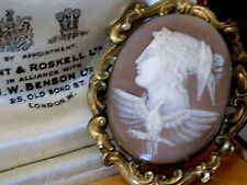 ANTIQUE VICTORIAN GODDESS & THE PHOENIX ENGLISH CARVED SHELL CAMEO PIN BROOCH