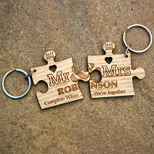 2 x Personalised Jigsaw Puzzle Fifth Anniversary Wedding Gift 5th Wood Keyrings