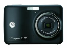 GE C1233 12MP Digital Camera 3X Optical Zoom ,2.4 Inch LCDAuto Brightness, Black