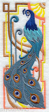 PEACOCK ART DECO SET OF 2 BATH HAND TOWELS EMBROIDERED by laura