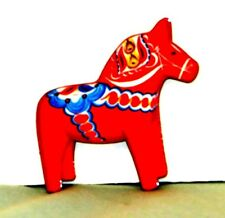 "New SWEDISH DALA HORSE WOOD MAGNET 2""x 2"" Made in Sweden"