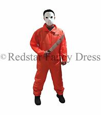 MENS ORANGE PRISONER COSTUME HALLOWEEN FANCY DRESS KILLER CONVICT JUMPSUIT