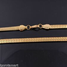 Da Uomo Mans Fashion placcato oro 24k piatto Franco Serpente Collana Catena con osso 60cm