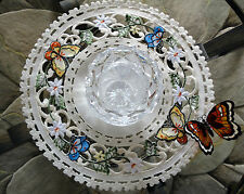 Butterfly  Lace  Doily  Butterfies & Daisies Flower 11""