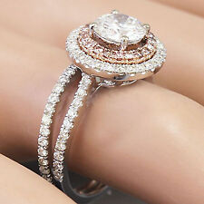 18K WHITE GOLD ROUND FOREVER ONE MOISSANITE DIAMOND ENGAGEMENT RING BAND 1.95CT