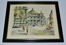 G. Lelong French Artist MINT  11x14 PARIS L'OPERA 1940's Framed Lithograph