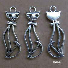 10pc Retro Tibetan Silver Charm Cat Accessories Jewelry Findings Wholesale B089P