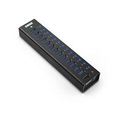Anker AH241 USB 3.0 Aluminum 13-Port Hub + 5V 2.1A Smart Charging Port Hub NEW