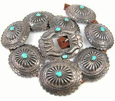 Lrg Vintage JACK ADAKAI Navajo Stamped Sterling Silver Turquoise Concho Belt | J